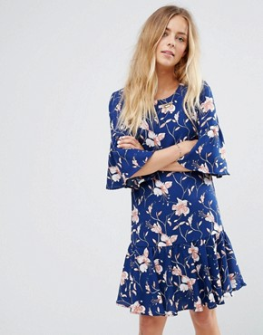 photo Floral Print Flute Sleeve Dress by Vila, color Blue - Image 1