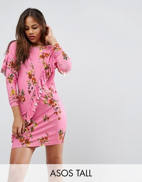 photo Mini T-Shirt Dress with Frill and Low Back in Floral Print by ASOS TALL, color Pink - Image 1