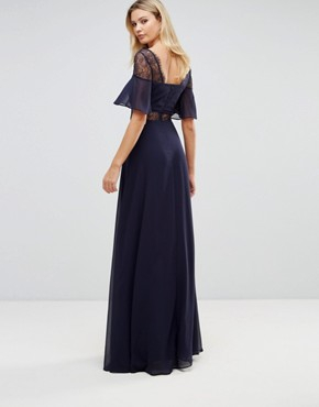 photo Lace Insert Flutter Sleeve Maxi Dress by ASOS TALL, color Navy - Image 2