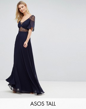 photo Lace Insert Flutter Sleeve Maxi Dress by ASOS TALL, color Navy - Image 1