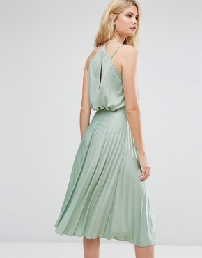 photo Blouson Wrap Pleated Midi Dress by ASOS TALL, color Mint - Image 2