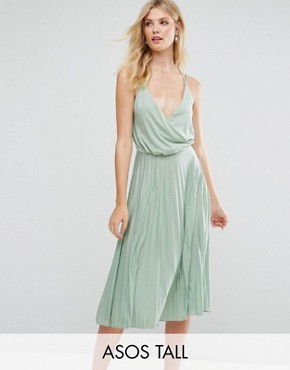 photo Blouson Wrap Pleated Midi Dress by ASOS TALL, color Mint - Image 1