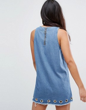 photo Denim Dress with Eyelets and Exposed Zip by Liquor N Poker, color Light Wash Blue - Image 2