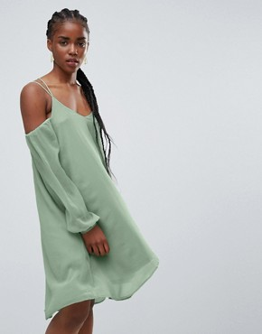 photo Lupin Cold Shoulder Waterfall Hem Dress by Bellfield, color Green - Image 1
