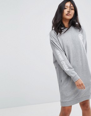 photo Sweat Dress with Arm Print by Santa Cruz, color Grey Heather - Image 1
