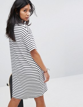 photo T-Shirt Dress in Breton Stripe with Dot Logo by Santa Cruz, color White - Image 2