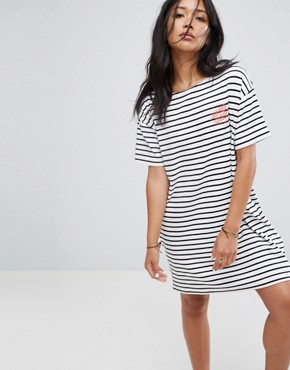 photo T-Shirt Dress in Breton Stripe with Dot Logo by Santa Cruz, color White - Image 1