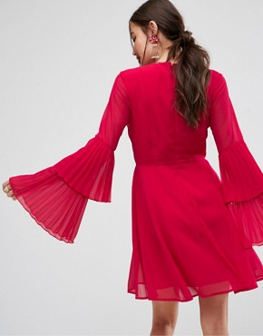 photo Triple Pleated Sleeve Mini Skater Dress by ASOS, color Red - Image 2