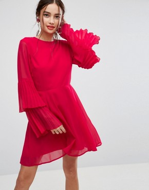 photo Triple Pleated Sleeve Mini Skater Dress by ASOS, color Red - Image 1