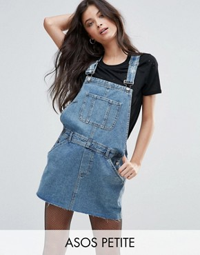photo Denim Dungaree Dress in Midwash Blue by ASOS PETITE, color Blue - Image 1