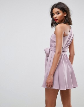 photo One Shoulder Tie Waist Mini Prom Dress by ASOS, color Mink Purple - Image 2