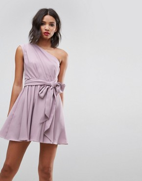 photo One Shoulder Tie Waist Mini Prom Dress by ASOS, color Mink Purple - Image 1