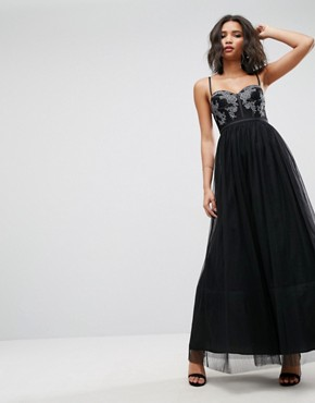 photo Tulle Maxi Dress by ASOS, color Black - Image 1