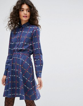 photo Safety Pin Printed Poplin Dress by Sonia by Sonia Rykiel, color Blue - Image 1