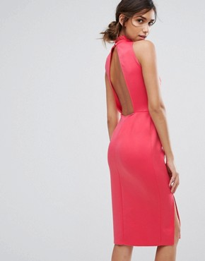 photo High Neck Midi Dress with Embellished Neck by Silver Bloom, color Dark Coral - Image 2