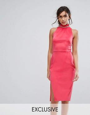 photo High Neck Midi Dress with Embellished Neck by Silver Bloom, color Dark Coral - Image 1