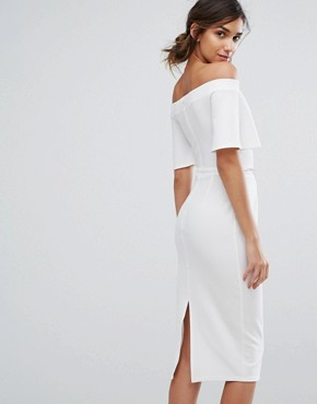 photo Bandeau Midi Dress with Fluted Sleeve and Embellished Waist by Silver Bloom, color Ivory - Image 2
