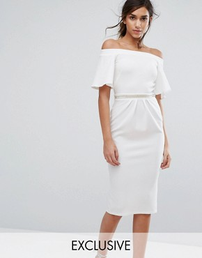 photo Bandeau Midi Dress with Fluted Sleeve and Embellished Waist by Silver Bloom, color Ivory - Image 1