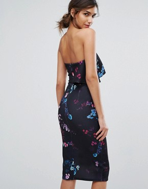 photo Bandeau Midi Dress in Dark Floral with Overlay by Silver Bloom, color Black Floral - Image 2