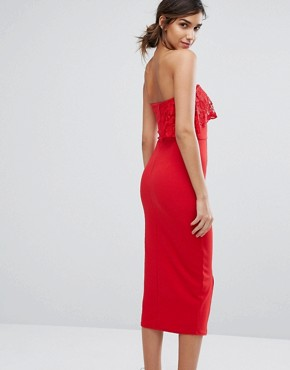 photo Bandeau Midi Dress with Overlay by Silver Bloom, color Red - Image 2