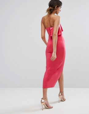 photo Bandeau Maxi Dress with Overlay in Satin by Silver Bloom, color Dark Coral - Image 2