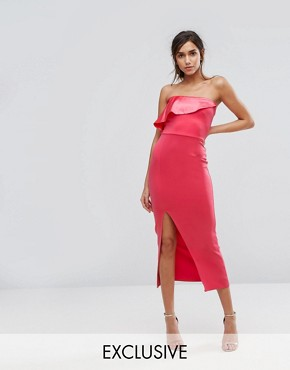 photo Bandeau Maxi Dress with Overlay in Satin by Silver Bloom, color Dark Coral - Image 1