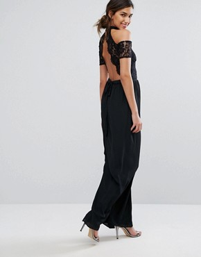 photo High Neck Maxi Dress with Lace Top and Cold Shoulder Detail by Silver Bloom, color Black - Image 2