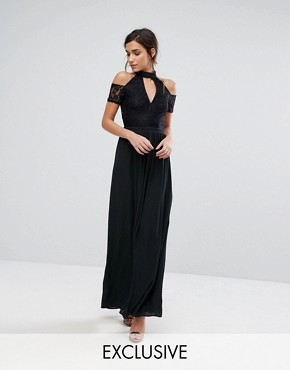 photo High Neck Maxi Dress with Lace Top and Cold Shoulder Detail by Silver Bloom, color Black - Image 1