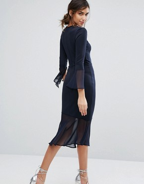 photo Bodycon Dress with Fluted Sleeve and Chiffon Hem by Silver Bloom, color Navy - Image 2