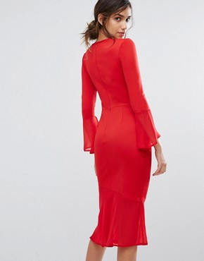 photo Bodycon Dress with Fluted Sleeve and Chiffon Hem by Silver Bloom, color Red - Image 2