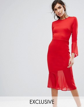 photo Bodycon Dress with Fluted Sleeve and Chiffon Hem by Silver Bloom, color Red - Image 1