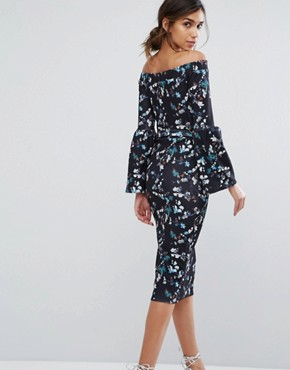 photo Bardot Midi Dress in Ditsy Floral with Exaggerated Sleeve by Silver Bloom, color Midnight Floral - Image 2