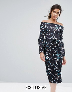 photo Bardot Midi Dress in Ditsy Floral with Exaggerated Sleeve by Silver Bloom, color Midnight Floral - Image 1