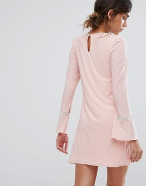 photo Swing Dress with Embellished Cuffs by Silver Bloom, color Pink - Image 2
