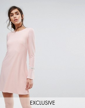 photo Swing Dress with Embellished Cuffs by Silver Bloom, color Pink - Image 1