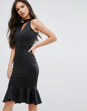 photo High Neck Midi Dress with Pephem by Outrageous Fortune, color Black - Image 1