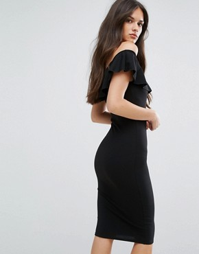 photo Bardot Midi Dress with Frill by Outrageous Fortune, color Black - Image 2