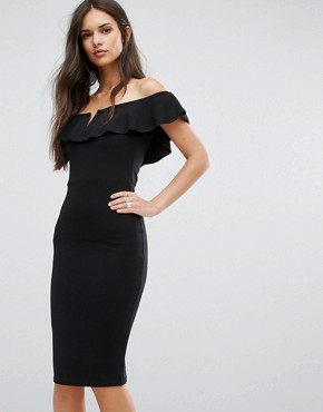 photo Bardot Midi Dress with Frill by Outrageous Fortune, color Black - Image 1