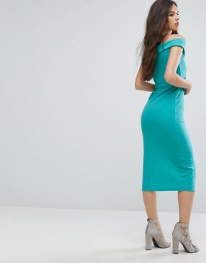 photo Bardot Pencil Dress with Split by Outrageous Fortune, color Turquoise - Image 2