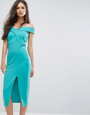 photo Bardot Pencil Dress with Split by Outrageous Fortune, color Turquoise - Image 1