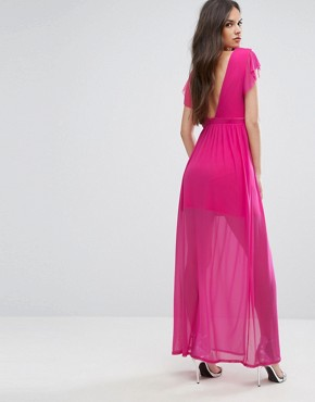 photo Maxi Dress with Double Split by Outrageous Fortune, color Fuchsia - Image 2
