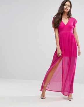 photo Maxi Dress with Double Split by Outrageous Fortune, color Fuchsia - Image 1