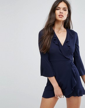 photo Ruffle Wrap Dress with Fluted Sleeve by Outrageous Fortune, color Navy - Image 1
