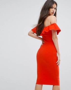 photo Bardot Midi Dress with Frill by Outrageous Fortune, color Orange - Image 2