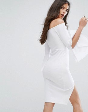 photo Bardot Midi Pencil Dress with Flueted Sleeve by Outrageous Fortune, color White - Image 2