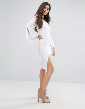 photo Bardot Midi Pencil Dress with Flueted Sleeve by Outrageous Fortune, color White - Image 1