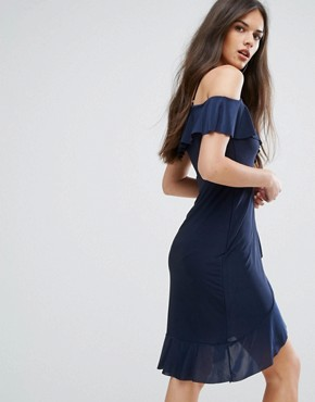 photo Wrap Front Midi Dress with Frill details by Outrageous Fortune, color Navy - Image 2