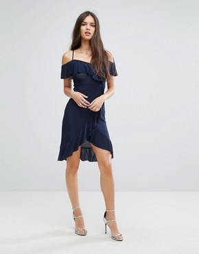 photo Wrap Front Midi Dress with Frill details by Outrageous Fortune, color Navy - Image 1