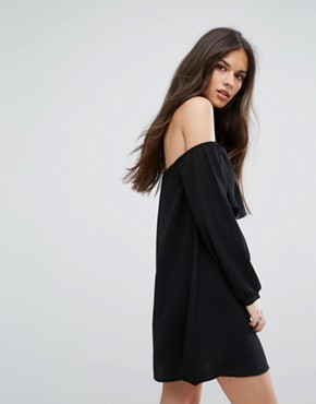 photo Cold Shoulder Shift Dress with Long Sleeved by Outrageous Fortune, color Black - Image 2