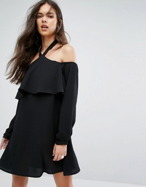 photo Cold Shoulder Shift Dress with Long Sleeved by Outrageous Fortune, color Black - Image 1